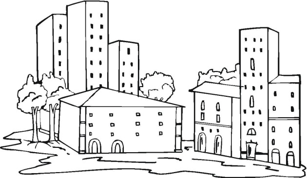 free buildings coloring pages