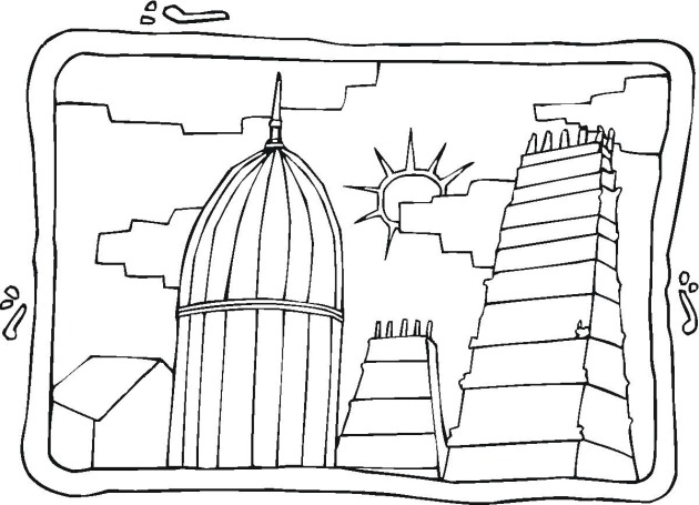 city buildings colouring pages