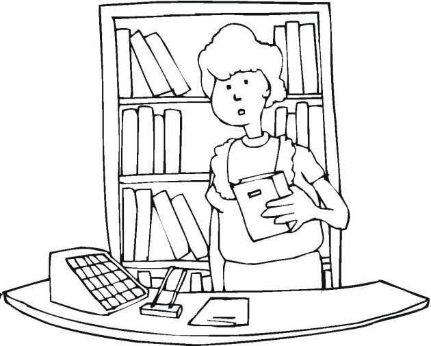 Free Coloring Pages Of Library Book