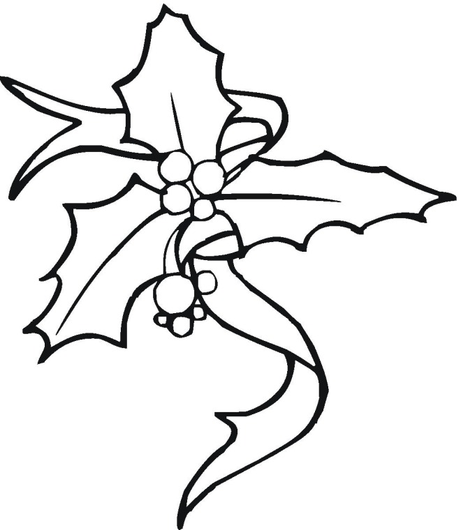 Colouring Pages Christmas Holly : Free Christmas Coloring Pages