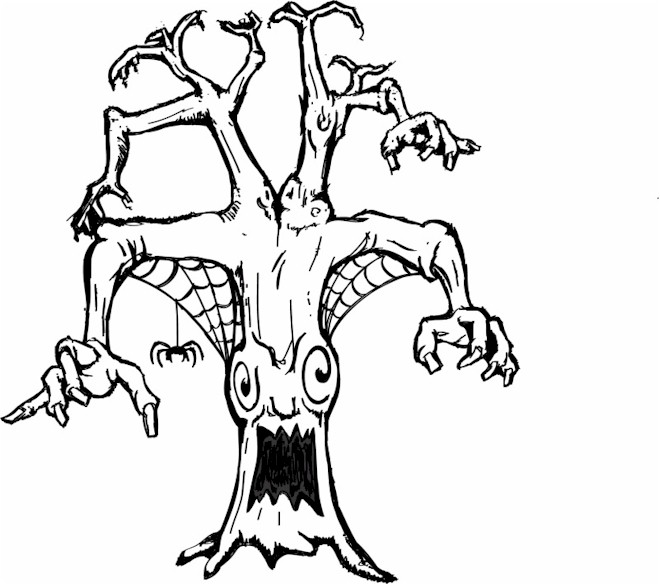 scary halloween tree coloring pages - photo#4