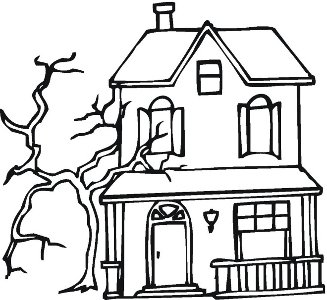 scary halloween house coloring pages - photo#20