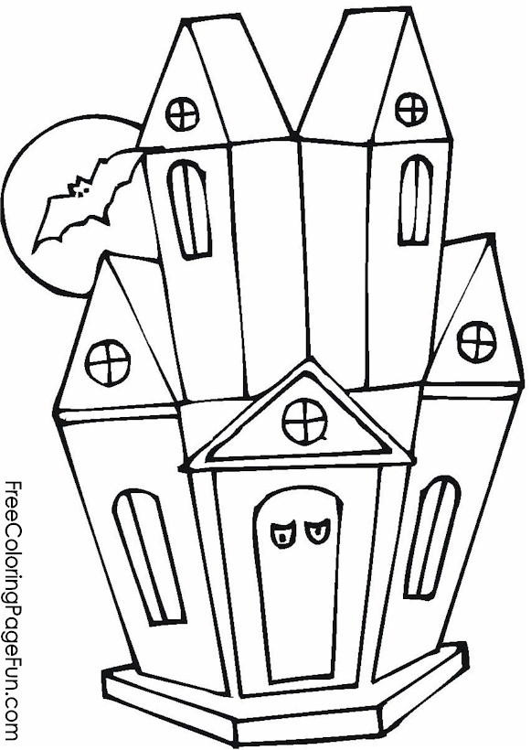 Free Halloween Coloring Pages - Haunted House