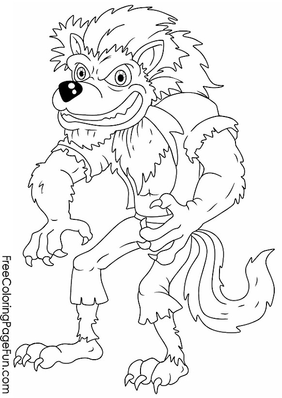 free halloween coloring pages werewolf
