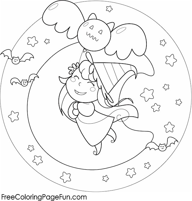 holloween moon coloring pages - photo#18