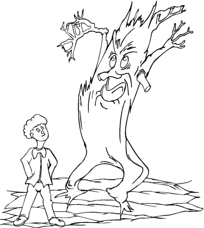 scary halloween tree coloring pages - photo#38