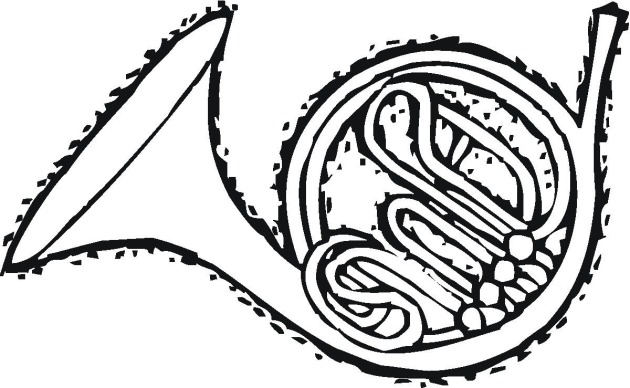 french horn coloring pages - photo#7