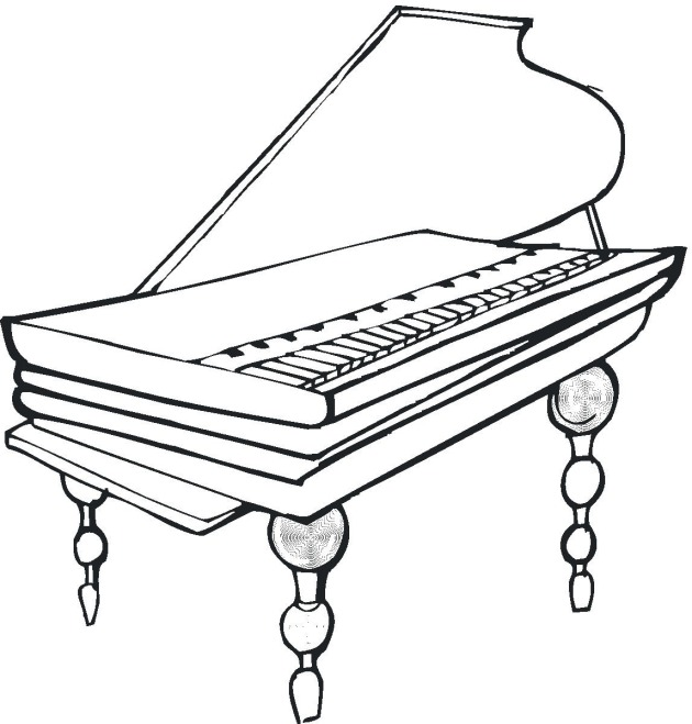 Free coloring pages of upright piano