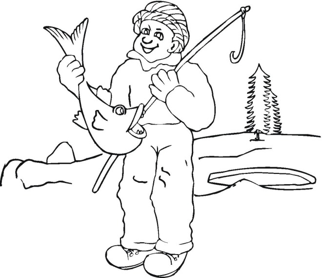 winter ice fishing coloring page click to print image only without ads