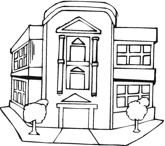 free buildings coloring pages - Apartment Building Coloring Pages