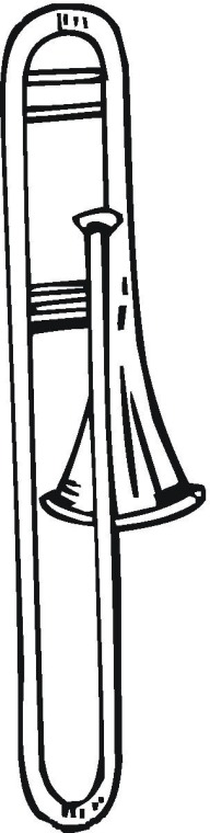 It is a graphic of Gutsy trombone coloring page